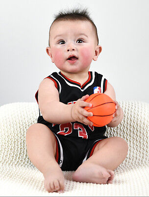Baby NBA Romper Jumpsuit Jersey Chicago Bulls #23 Jordan (Black) (with Bib)