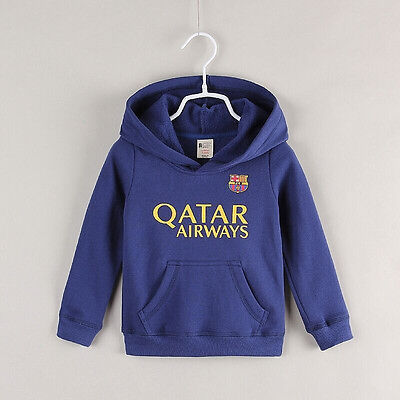 (New) Barcelona Kids Hoodies Jersey Jumper Soccer Jerseys Messi #10 Size 1 2 3 4