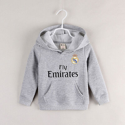 (NEW) Real Madrid Kids Hoodies Jersey Jumper Soccer Jerseys Ronaldo #7 Size 1234