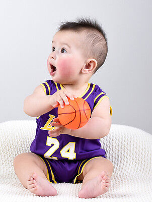 Baby Infant NBA Romper Jumpsuit Jersey Lakers #24 Kobe Bryant Purple (Free Bib)
