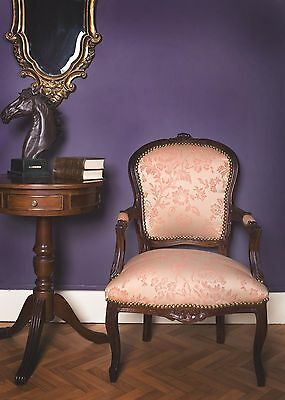 French Louis Armchair Mahogany Shabby Chic Bedroom Hallway Wooden Frame Chair