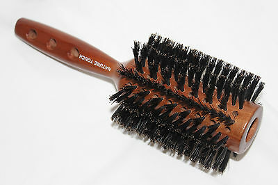 Nature Touch Professional 7.5cm large Round Styling Natural Boar Bristle brush
