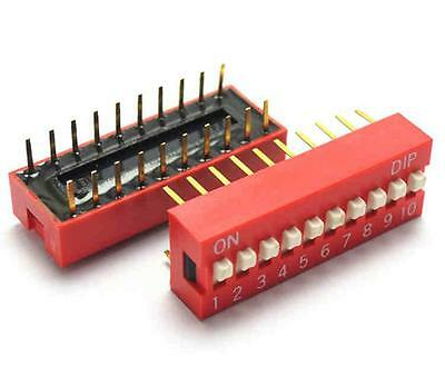 10 PCS Red 2.54mm Pitch 10-Bit 10 Positions Ways Slide Type DIP Switch