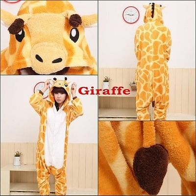Hot Unisex Adult Pajamas Kigurumi Cosplay Costume Animal Onesie giraffe