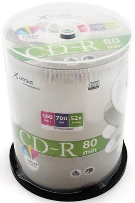 100 Xlayer Printable White Blank CD-R discs 52x 700MB 80 mins in cakebox