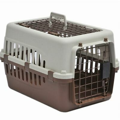 Pet Carrier Cage Dog Cat Kitten Puppy Travel Transport Box White Brown 2 Door