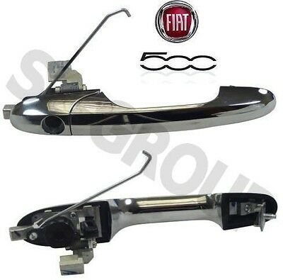 Fiat 500 07- Outer Driver Side Right Front Door Handle Rhd Genuine Chrome