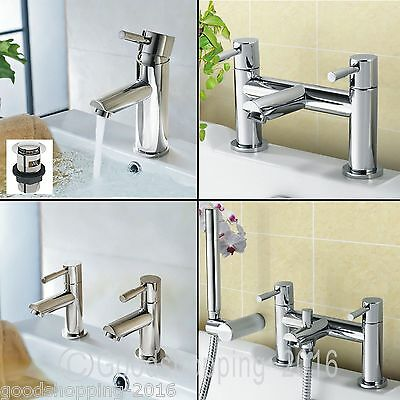 Modern Chrome Basin Mono Twin Basin Taps Bath Filler Bath Shower Mixer Tap Set