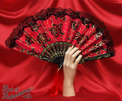 Gothic Burlesque BLACK RED GOLD FOLDING FAN Rose Lace Floral Spanish Costume F22