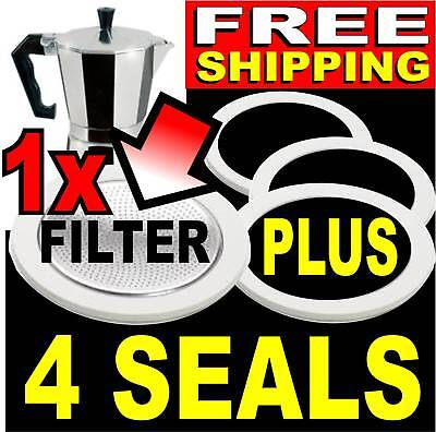 4 SEALS+FILTER for Bialetti 1 Cup Expresso Coffee Pot. Replacement Gasket 06963