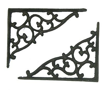 "Set of 2 antique style Decorative Cast Iron Shelf Brackets - 7"" x 5-1/2"" #27"