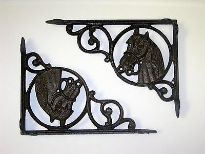 "Set of 2 Decorative Horse Head Cast Iron Shelf Brackets - 9"" x 6-5/8"" #83"