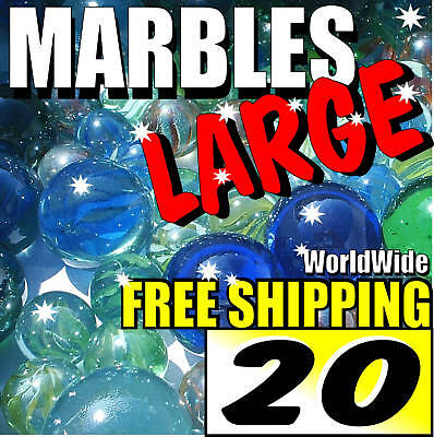 20 LARGE Colourful Marbles Toy Game Present Free Ship