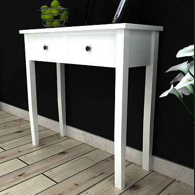 Console Dressing Table Bedroom Modern Style Furniture 2 Storage Drawers White