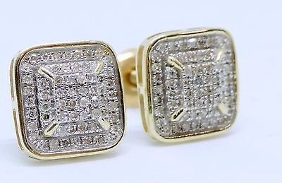 8ff16e822 10K Yellow Gold Diamond Studs Concave Kite Pave Mens Ladies Earrings 0.26 Ct