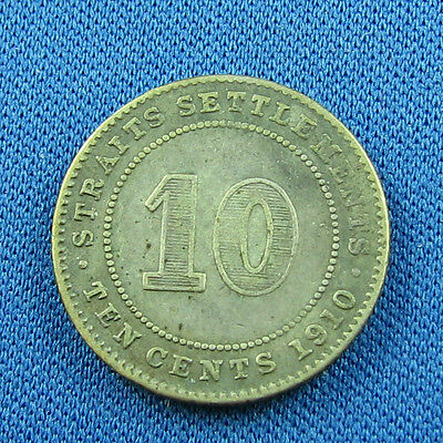 Straits Settlements 1910 10 cents silver nice coin