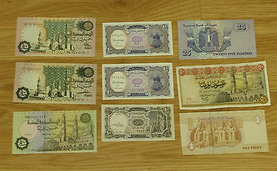 lot of  9 Bank notes of Central bank  of Egypt VF+ to UNC