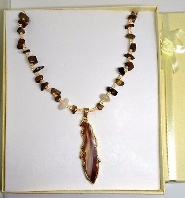 Tiger's Eye Necklace, contains blessed by John of God Casa Crystal Gems