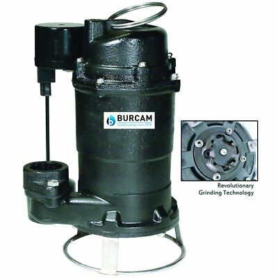 """Bur-Cam 3/4 HP Cast Iron Residential Grinder Pump (2"""") w/ Thether Float"""