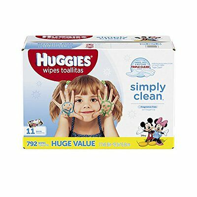 HUGGIES Simply Clean Unscented Baby Refill Wipes, 792 Count