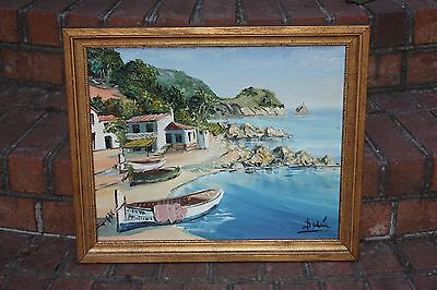 Signed Palía Seaside Painting 21 x 18 oil Frame Village Boat Canoe Seascape