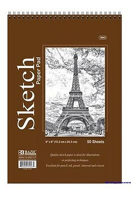 "6"" x 8"" High Quality Spiral Premium Quality Sketch Book Paper Pad 50 Sheet NEW!!"
