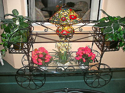 Large Vintage English Indoor or Outdoor Black Wrought Iron 2 tier w/ glass Cart