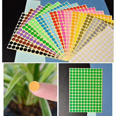 10mm x 165 Round Dot Stickers Coloured Circles Circular Sticky Labels - 10 Color