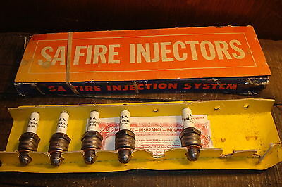 Vintage S A Fire Injectors Spark Plug Lot W/  Display Box - Rare Engine Plugs!!