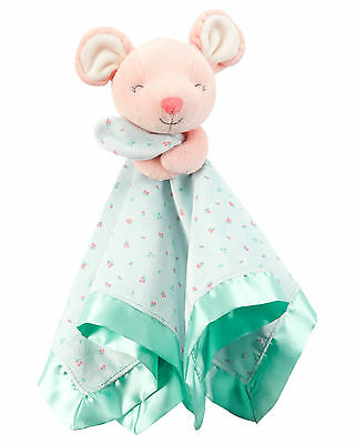 """Carter's Infant Girls Peach Plush Floral Baby Mouse Security Blanket 14""""x14"""" NWT"""
