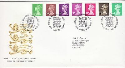 GB Stamps First Day Cover Machin Definitives Seven Low Values SHS Lion 1996
