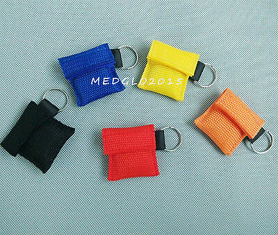 100 Sets/Pack CPR MASK WITH KEYCHAIN CPR FACE SHIELD NO LOGO FOR CPR AED 5 COLOR