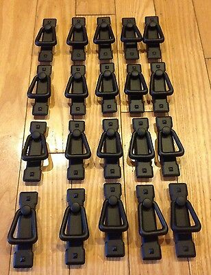 Lot Of (20) Flat Black Trunk Cabinet Chest Handle Pulls Cast Iron Style Mission