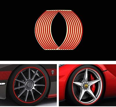 16PCs RED Strips Car Motorcycle Reflective Rim Stripe Tape Wheel Sticker Decals