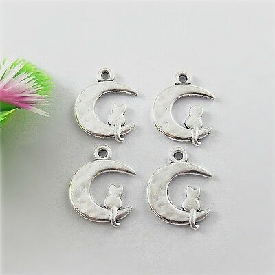 Lots 40x Antique Silver Moon Cat Alloy Pendant Charms Jewelry DIY Making 51522