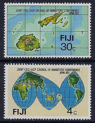 1977 Fiji Acp & Eec Conference Set Of 2 Mint Hinged Mh/mm