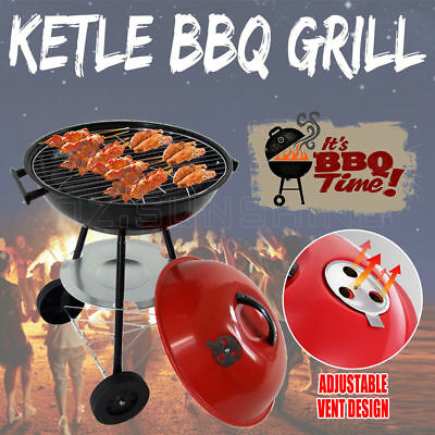 New Portable Outdoor Red Kettle Trolley BBQ Grill Charcoal Wood Barbeque Picnic