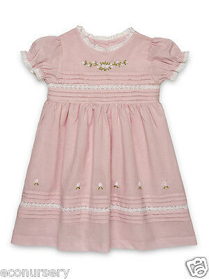 "Aurora Royal Light Pink Hand Embroidered "" Floral Bullions & Lace"" Cotton Dress"