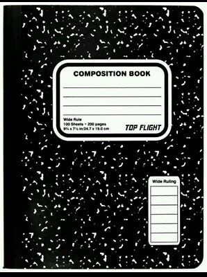 Lot of 5 - Top Flight Composition Notebooks, Wide Ruled, 100pgsEa (327)