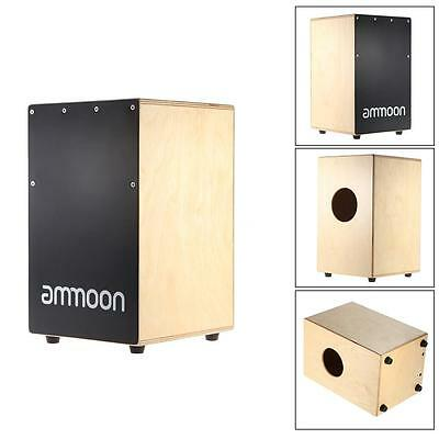 ammoon Wooden Cajon Hand Drum Children Box Drum + Stings Rubber Feet Z2Y5