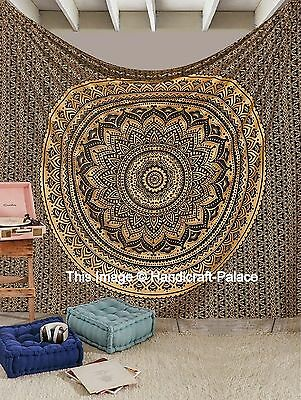 Indian Black Gold Ombre Tapestry Mandala Wall Hanging Queen Bedding Bedspread