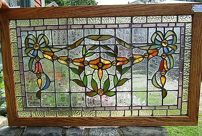 19TH c STAINED GLASS WINDOW W JEWELS - 20 BY 34