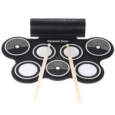Silicone Electronic Drum Pad Kit Digital USB MIDI Roll-up w/Foot Pedal U7M1