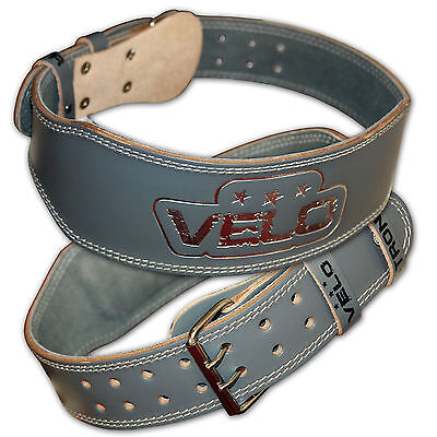 """VELO Weight Lifting 4"""" Leather Belt Back Support Strap Gym Power Training Fitnes"""
