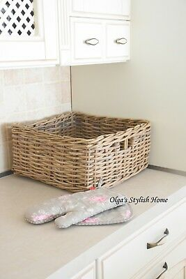 Grey  Rattan Square Kitchen Living Room throw Basket storage