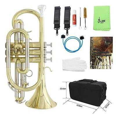 Professional Bb Flat Cornet Brass with Carrying Case Gloves Grease Brushes F4H7