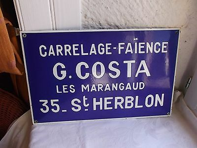 French authentic  sign awesome vintage blue & white porcelain enamel