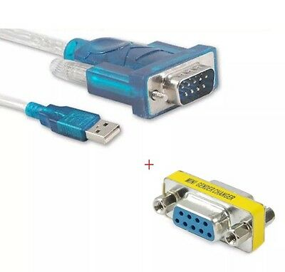 USB to RS-232 DB9 9-pin Serial Cable & Female To Female Adapter & Driver CD