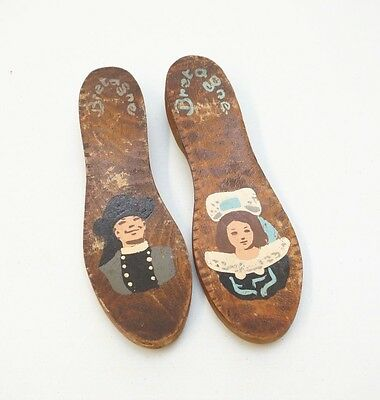 Vintage Folk Art Hand Painted Wood Shoe Soles Bretagne Brittany Colonial