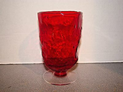 Morgantown Crinkle Ruby Red 4 Footed Water Goblet Tumblers